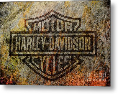 Harley Davidson Logo Grunge Metal Metal Print by Randy Steele