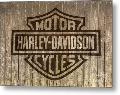 Harley Davidson Logo On Wood Metal Print