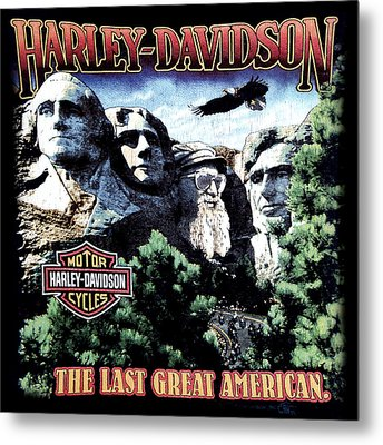 Metal Print featuring the digital art Harley Davidson The Last Great American by Gina Dsgn