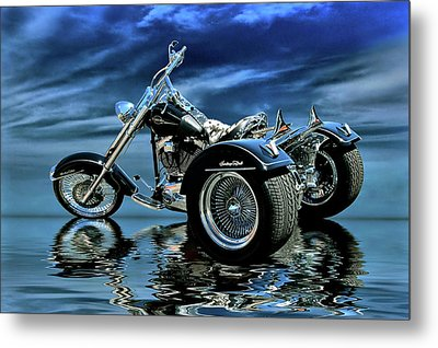Metal Print featuring the photograph Harley Heritage Soft Tail Trike by Steven Agius