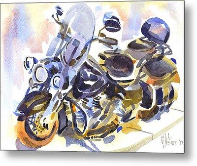 Motorcycle In Watercolor Metal Print by Kip DeVore