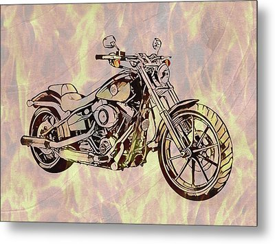 Metal Print featuring the mixed media Harley Motorcycle On Flames by Dan Sproul
