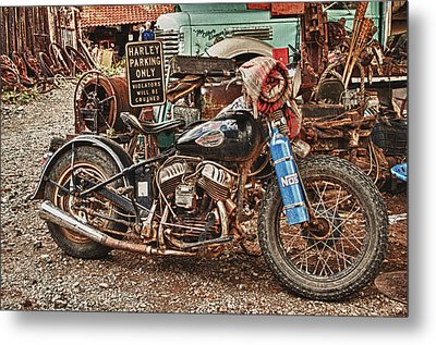 Metal Print featuring the photograph Harley Parking Only by James Bethanis