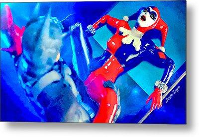 Harley Quinn Fighting Batman  - Vivid Aquarell Style -  - Da Metal Print