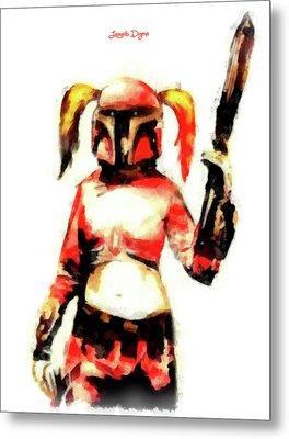 Harley Quinn Trooper - Aquarell Style Metal Print by Leonardo Digenio