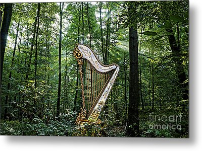 Harp In The Woods Metal Print by Marvin Blaine