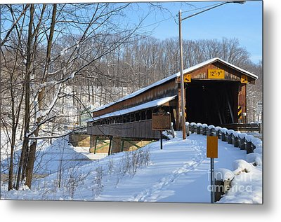 Harpersfield Covered  Bridge Ohio Metal Print by Lila Fisher-Wenzel