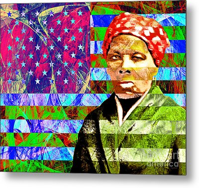 Harriet Tubman Underground Railroad American Flag 20160422 Metal Print