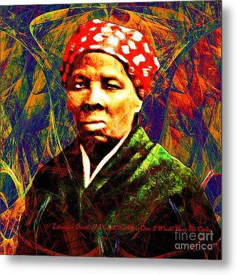 Harriet Tubman Underground Railroad In Abstract 20160422 Square With Text Metal Print
