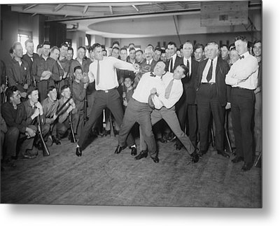 Harry Houdini Cannot Escape The Hold Metal Print by Everett