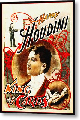 Harry Houdini - King Of Cards Metal Print by Bill Cannon