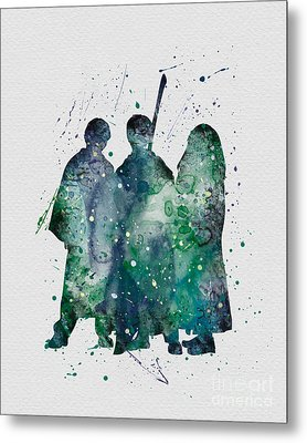 Harry Ronald And Hermione Watercolor  Metal Print by Vivid Editions