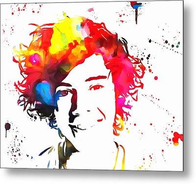 Harry Styles Paint Splatter Metal Print by Dan Sproul