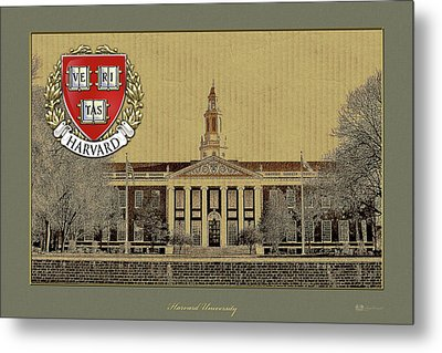 Harvard University Building Overlaid With 3d Coat Of Arms Metal Print by Serge Averbukh