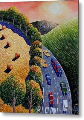 Harvest And Highway Metal Print by Adrian Jones