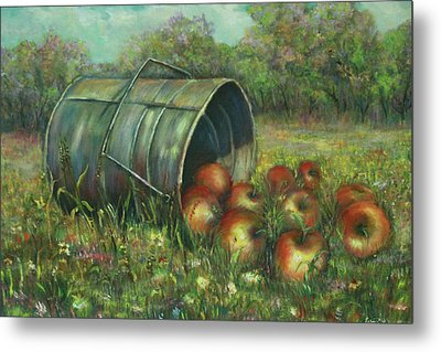 Harvest With Red Apples Metal Print by Luczay