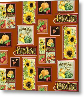 Harvest Market Pumpkins Sunflowers N Red Wagon Metal Print by Audrey Jeanne Roberts