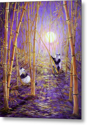 Harvest Moon Pandas  Metal Print by Laura Iverson