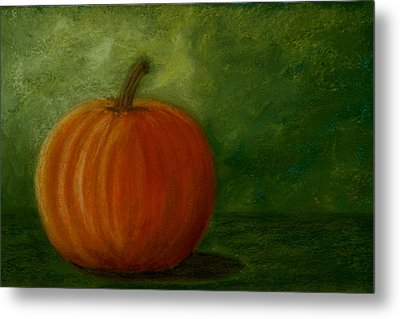 Harvest Moon Pumpkin Metal Print by Cheryl Albert