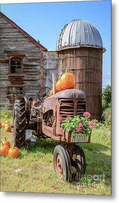 Harvest Time Vintage Farm With Pumpkins Metal Print
