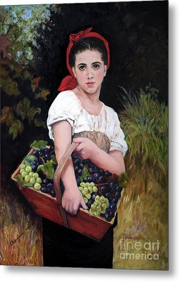 Harvesting The Grapes Metal Print by Sandra Nardone