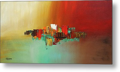 Metal Print featuring the painting Hashtag Happy - Abstract Art by Carmen Guedez
