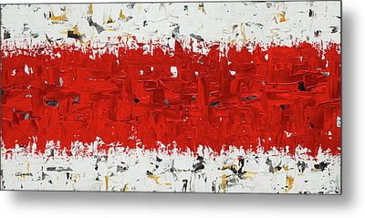 Metal Print featuring the painting Hashtag Red - Abstract Art by Carmen Guedez