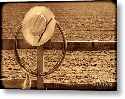 Hat And Lasso On A Fence Metal Print by American West Legend By Olivier Le Queinec