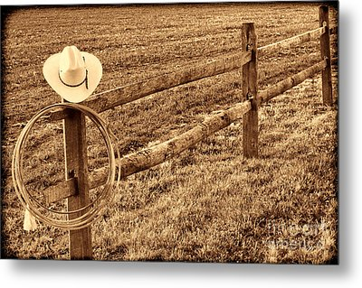 Hat And Lasso On Fence Metal Print by American West Legend By Olivier Le Queinec