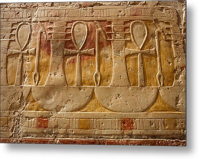 Hatshepsut Temple Ankh, The Key Of Life Metal Print by Aivar Mikko