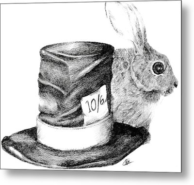 Metal Print featuring the drawing Hatter And The Hare by Meagan  Visser