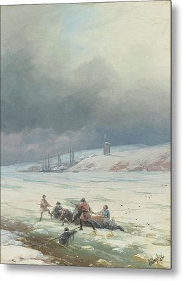 Hauling A Horse And Cart Out Of Ice Metal Print by MotionAge Designs