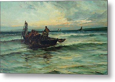 Hauling In The Nets At Sunset Metal Print