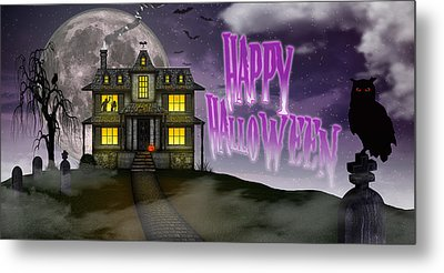 Metal Print featuring the digital art Haunted Halloween by Anthony Citro