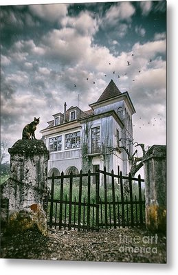Haunted House And A Cat Metal Print