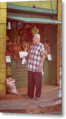 Metal Print featuring the photograph Havana Cuba Corner Market by Joan Carroll
