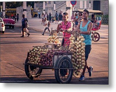 Metal Print featuring the photograph Havana Cuba Onion Cart by Joan Carroll
