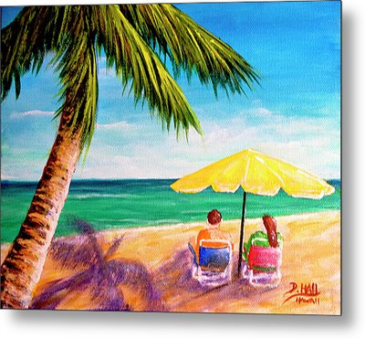 Hawaii Beach Yellow Umbrella #470 Metal Print by Donald k Hall