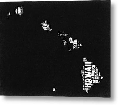 Hawaii Black And White Map Metal Print by Naxart Studio