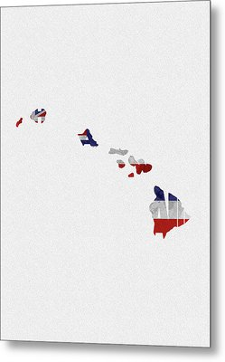 Metal Print featuring the painting Hawaii Typographic Map Flag by Inspirowl Design