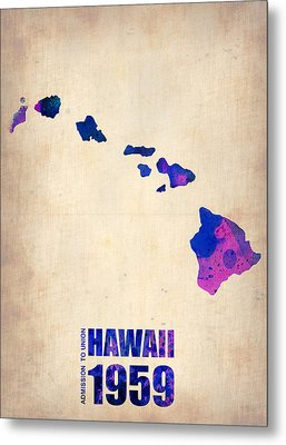 Hawaii Watercolor Map Metal Print by Naxart Studio