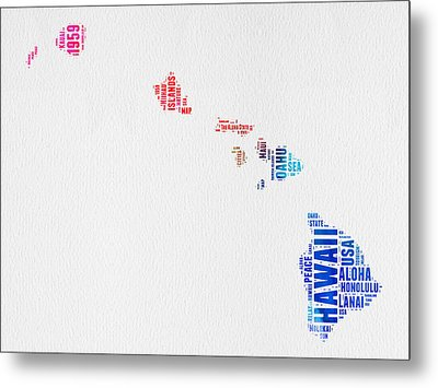 Hawaii Watercolor Word Cloud  Metal Print