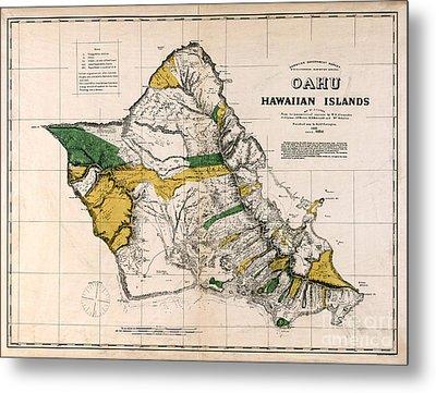 Hawaiian  Islands Map 1881 Metal Print by Jon Neidert