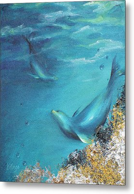 Metal Print featuring the painting Hawaiian Monk Seals by Dina Dargo