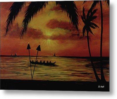 Hawaiian Sunset Paddlers #283 Metal Print by Donald k Hall