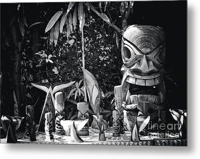 Metal Print featuring the photograph Hawaiian Tiki Carvings by Sharon Mau