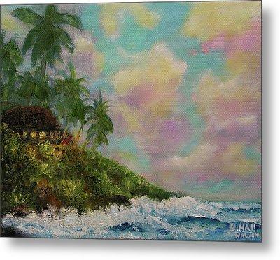 Hawaiian  Twilight Beach Wave Art Print Painting #423 Metal Print by Donald k Hall