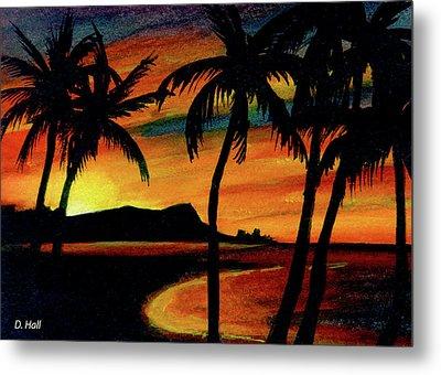 Hawaiian Waikiki Sunrise Over Diamond Head  #266 Metal Print by Donald k Hall