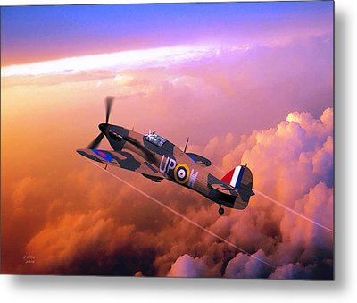 Metal Print featuring the digital art Hawker Hurricane British Fighter by John Wills