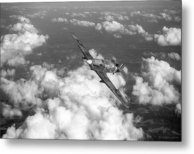 Metal Print featuring the photograph Hawker Hurricane IIb Of 174 Squadron Bw Version by Gary Eason